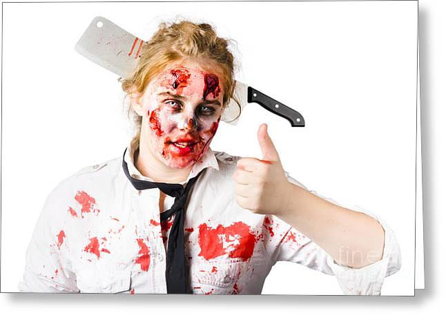 Ghastly Greeting Cards - Bloody woman with cleaver in head Greeting Card by Ryan Jorgensen