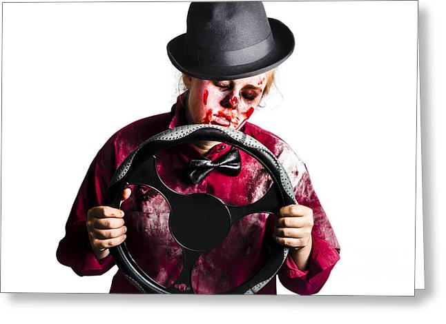 Drain Greeting Cards - Bloody woman with steering wheel Greeting Card by Ryan Jorgensen