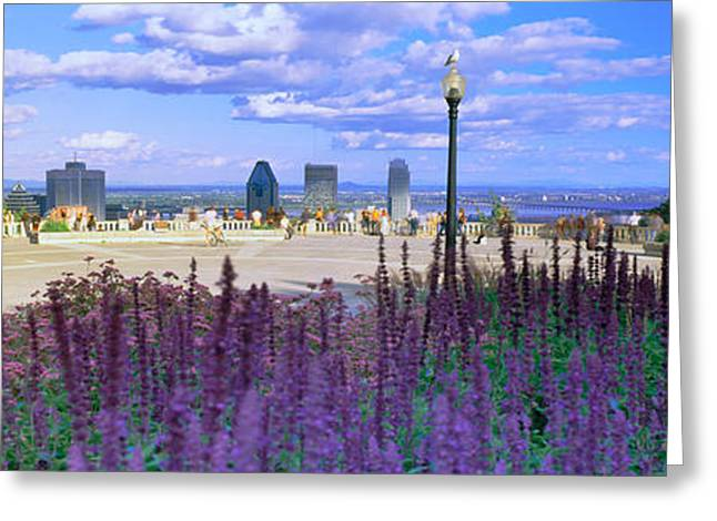 Chalet Greeting Cards - Blooming Flowers With City Skyline Greeting Card by Panoramic Images