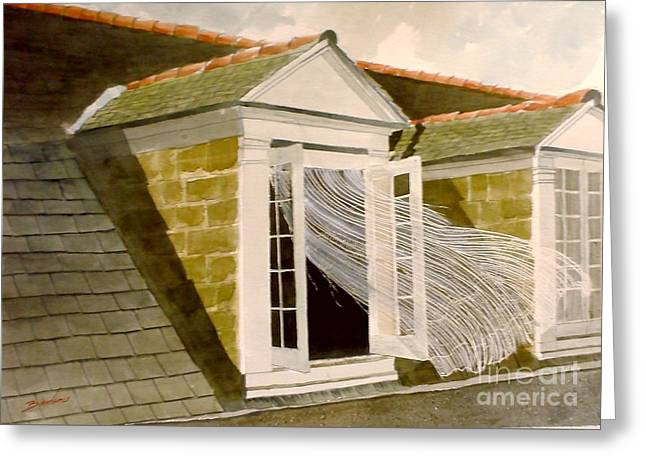 French Open Paintings Greeting Cards - Blowing Lace Greeting Card by Gerald Bienvenu