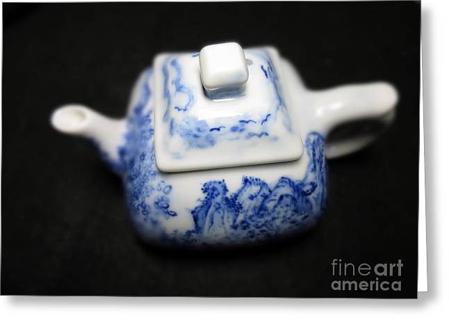 White Ceramics Greeting Cards - Blue And White Porcelain Greeting Card by Champion Chiang