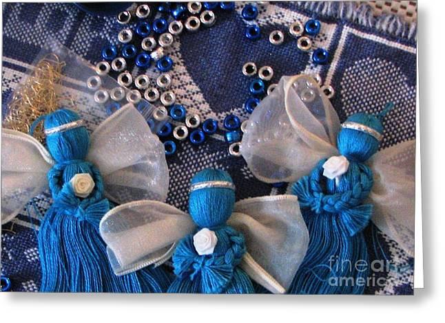 Angel Blues Greeting Cards - Blue Angels Greeting Card by Judyann Matthews
