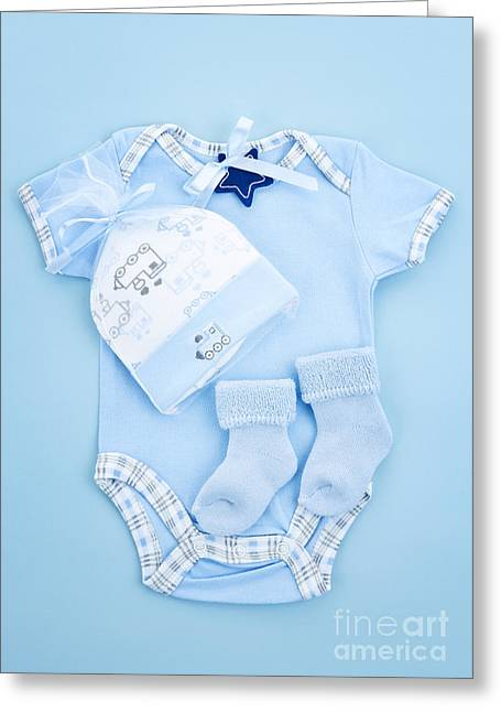 Tiny Photographs Greeting Cards - Blue baby clothes for infant boy Greeting Card by Elena Elisseeva