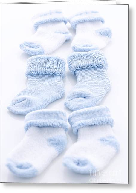 Blue Baby Socks Greeting Card by Elena Elisseeva