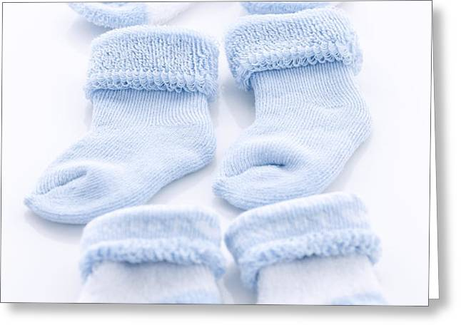 Blue baby socks Greeting Card by Elena Elisseeva