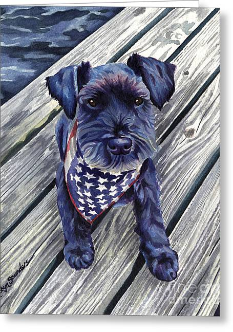 Independence Day Paintings Greeting Cards - Blue Black Dog on Pier Greeting Card by Robyn Saunders