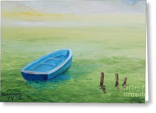 Puerto Rican Artist Greeting Cards - Blue Boat Greeting Card by Alicia Maury