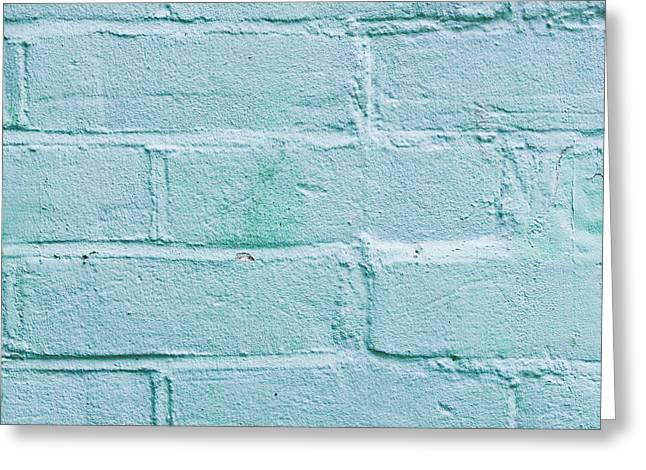 Blue Brick Greeting Cards - Blue brick wall Greeting Card by Tom Gowanlock