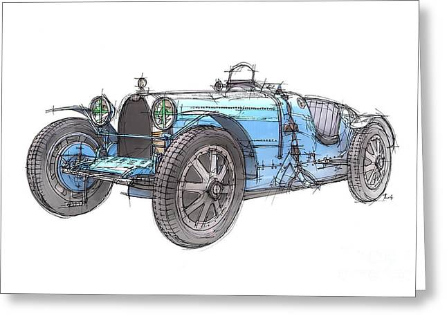 Handmade Drawings Greeting Cards - Blue Bugatti Greeting Card by Pablo Franchi