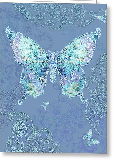 Border Photographs Greeting Cards - Blue Butterfly Floral Greeting Card by Alixandra Mullins