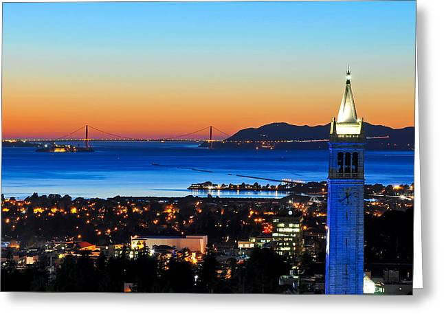 Recently Sold -  - Bay Bridge Greeting Cards - Blue Campanile and Golden Gate at Sunset Greeting Card by Joel Thai