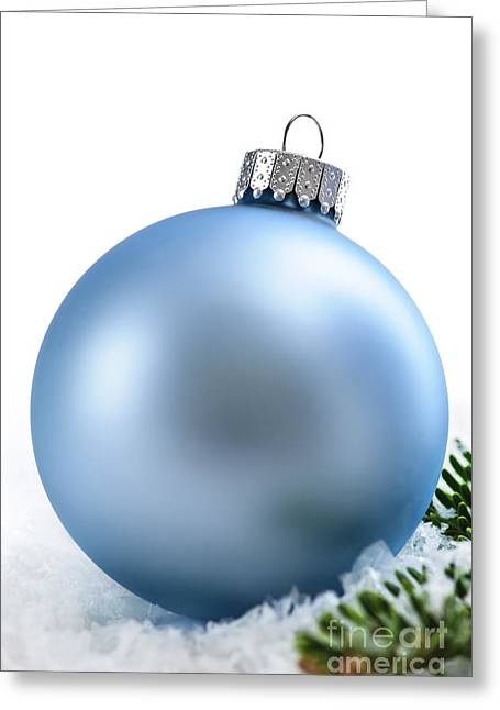 Decorate Greeting Cards - Blue Christmas bauble Greeting Card by Elena Elisseeva