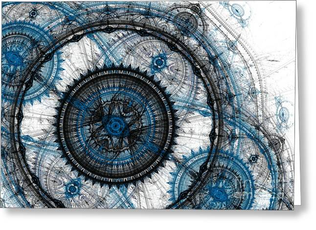 Cog Greeting Cards - Blue clockwork Greeting Card by Martin Capek
