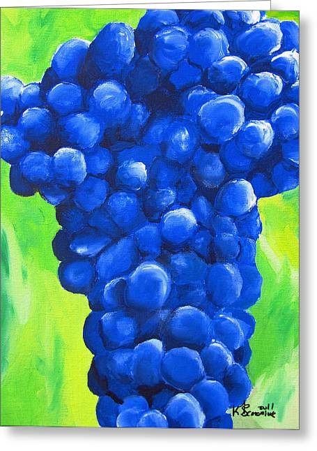 Blue Grapes Greeting Cards - Blue Cluster Greeting Card by Kayleigh Semeniuk