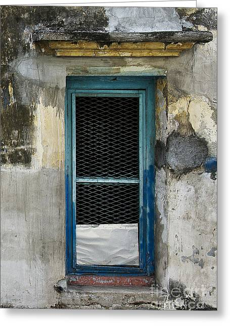 Drain Greeting Cards - Blue Door Greeting Card by Ivy Ho