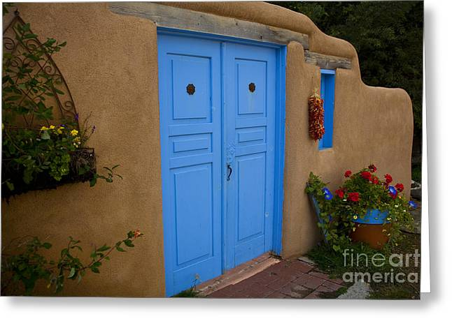 Taos Greeting Cards - Blue Doors Greeting Card by Timothy Johnson