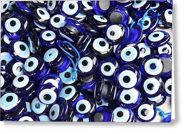Amulets Greeting Cards - Blue Evil Eye souvenir sold in Istanbul Turkey Greeting Card by Brandon Bourdages