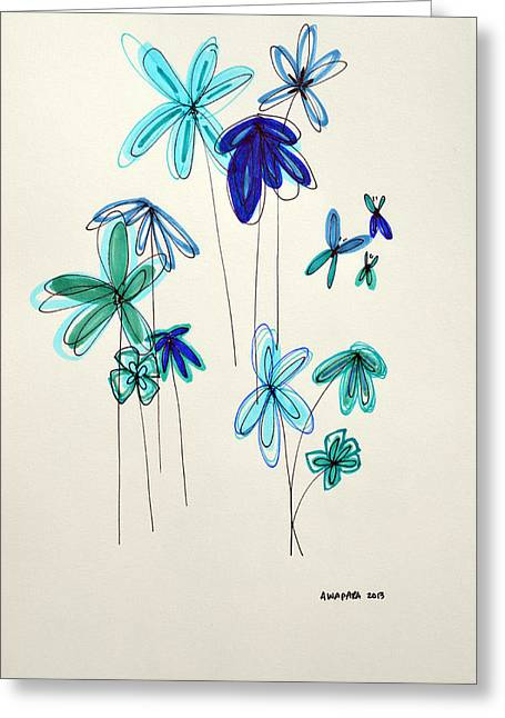 Aqua Drawings Greeting Cards - Blue Flowers Greeting Card by Patricia Awapara