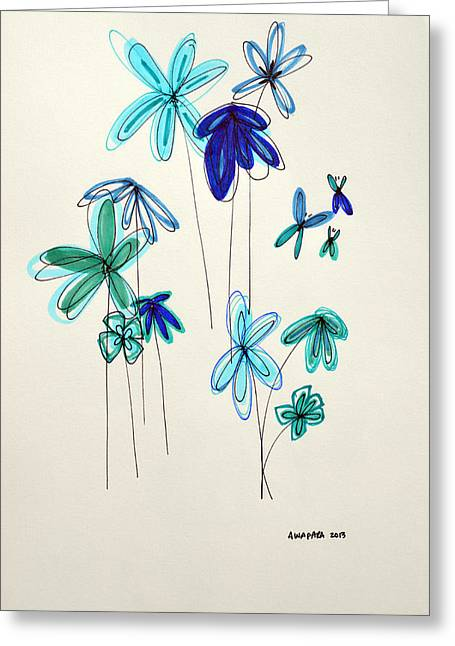 Delicate Drawings Greeting Cards - Blue Flowers Greeting Card by Patricia Awapara