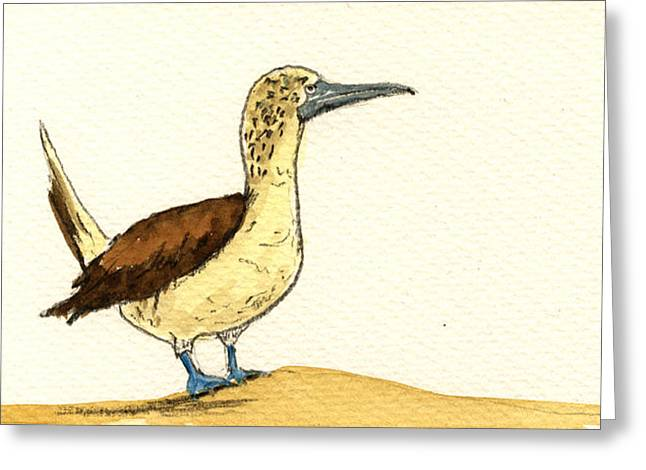 Blue Footed Booby Greeting Card by Juan  Bosco