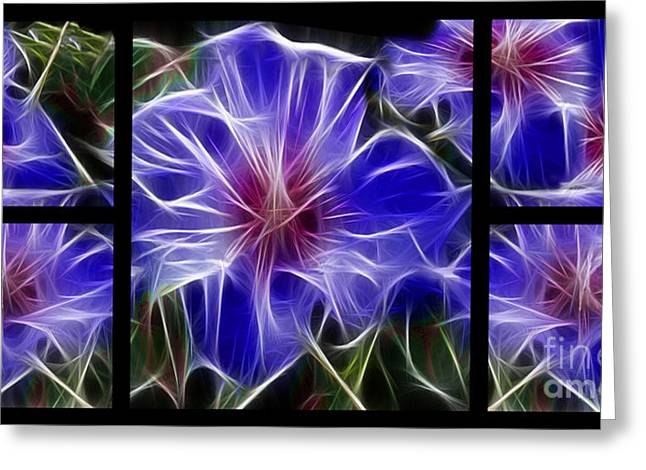 Polyptych Greeting Cards - Blue Hibiscus Fractal Greeting Card by Peter Piatt