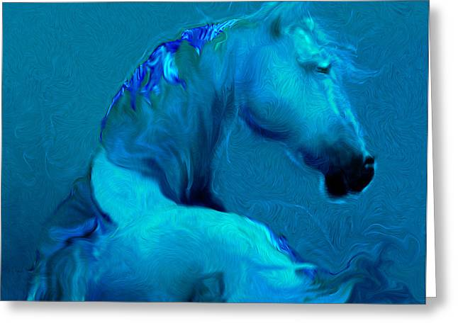 Horses In Print Greeting Cards - Blue Horse Greeting Card by Judith Barath