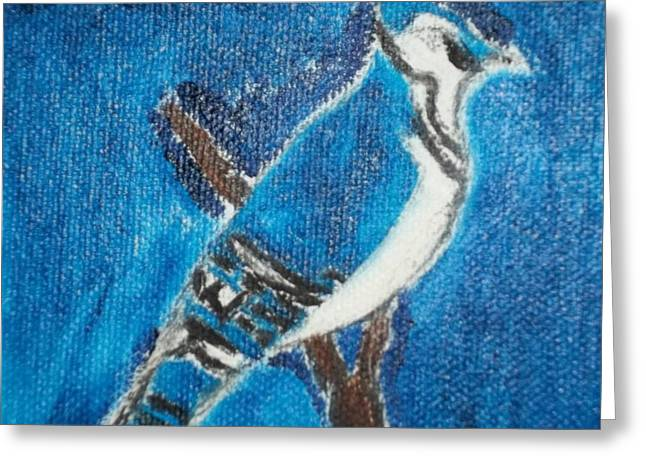 Etc. Paintings Greeting Cards - Blue Jay Oil Painting Greeting Card by William Sahir House