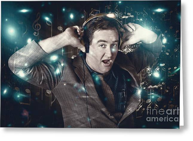 Blue Light Disco Man Dancing At Club Dance Party Greeting Card by Jorgo Photography - Wall Art Gallery