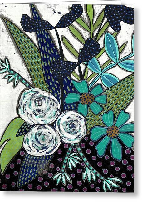 Lisa Noneman Mixed Media Greeting Cards - Blue Greeting Card by Lisa Noneman