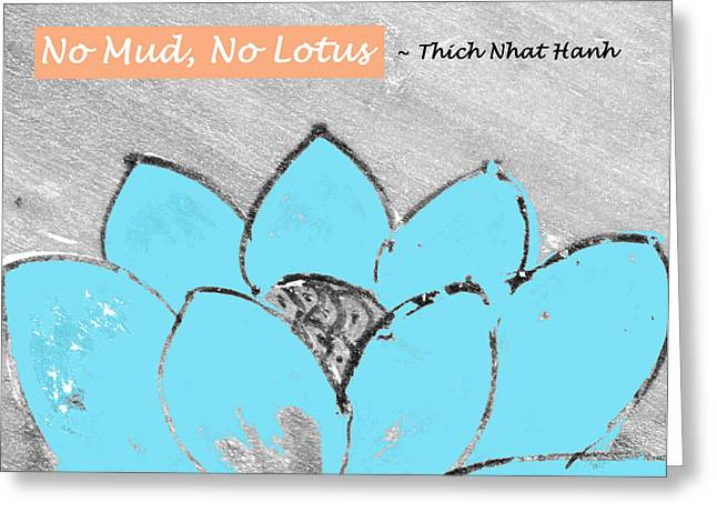 Spa work Mixed Media Greeting Cards - Blue Lotus Greeting Card by SL Guidi