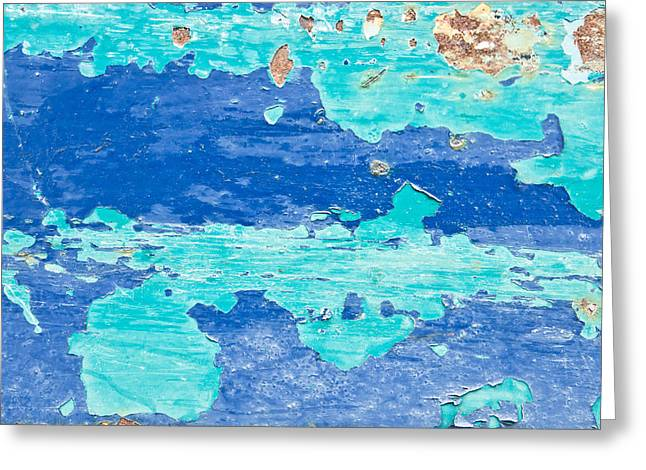 Deteriorating Greeting Cards - Blue metal Greeting Card by Tom Gowanlock