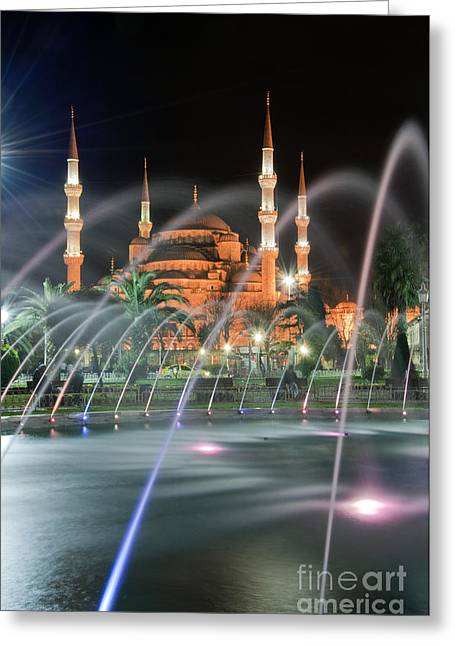 Evening Scenes Greeting Cards - Blue Mosque at night 01 Greeting Card by Antony McAulay