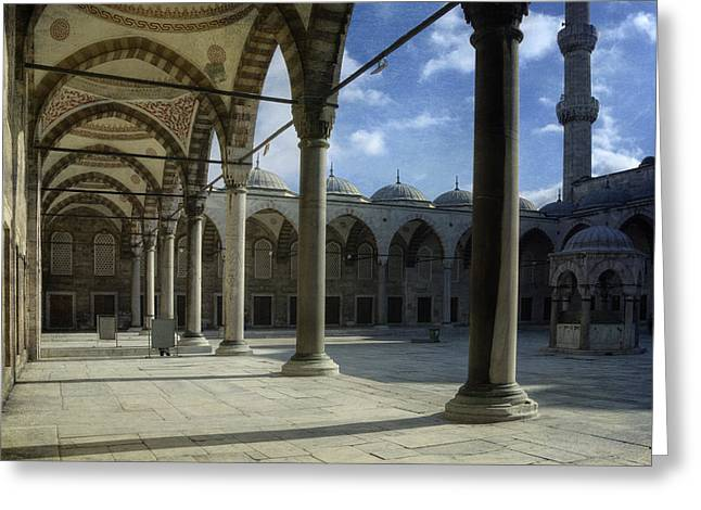 Cupola Greeting Cards - Blue Mosque Courtyard Greeting Card by Joan Carroll