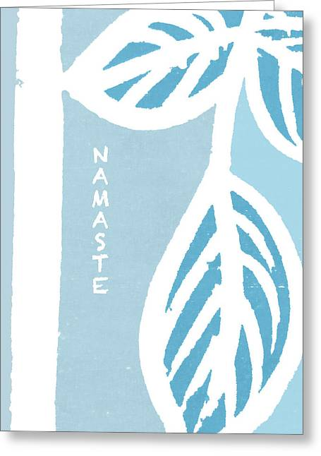 Spa work Mixed Media Greeting Cards - Blue Namaste Greeting Card by SL Guidi