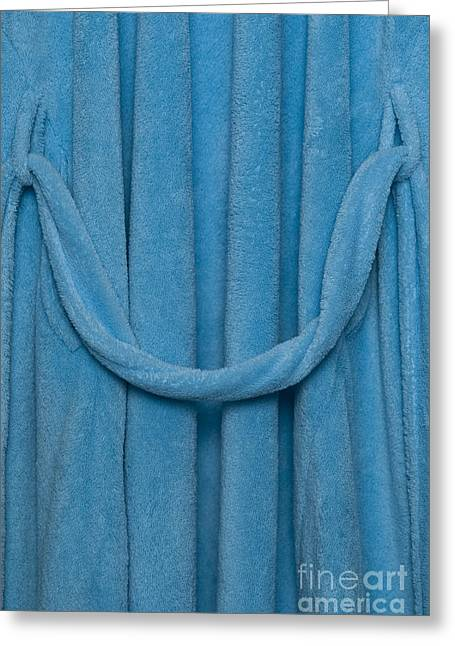 Bathrobe Greeting Cards - Blue robe close up Greeting Card by Jim Corwin