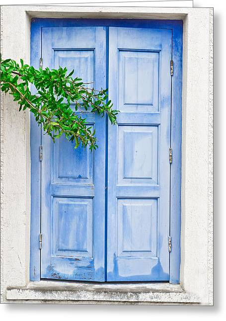 Weathered Shutters Greeting Cards - Blue shutter Greeting Card by Tom Gowanlock