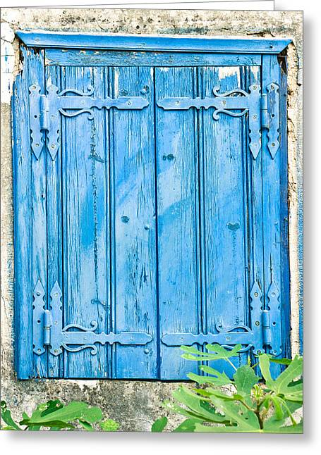 Old Relics Greeting Cards - Blue shutters Greeting Card by Tom Gowanlock