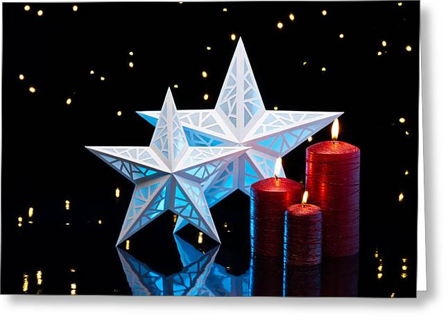 Candle Lit Greeting Cards - Blue Stars Greeting Card by Ulrich Schade
