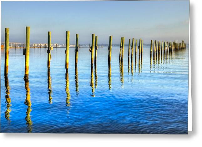 Foggy Beach Greeting Cards - Blue Tide Greeting Card by Debra and Dave Vanderlaan