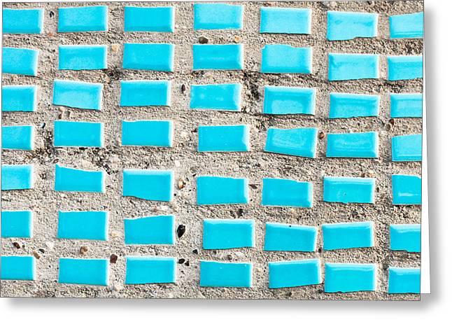 Tiled Greeting Cards - Blue tiles Greeting Card by Tom Gowanlock