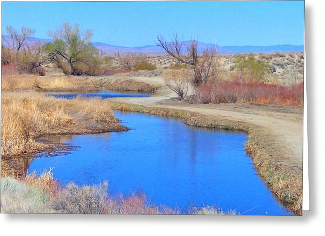 Bishop Hill Greeting Cards - Blue Water Greeting Card by Marilyn Diaz