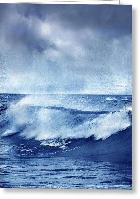 Surfing Photos Greeting Cards - Blue wave Greeting Card by Guido Montanes Castillo