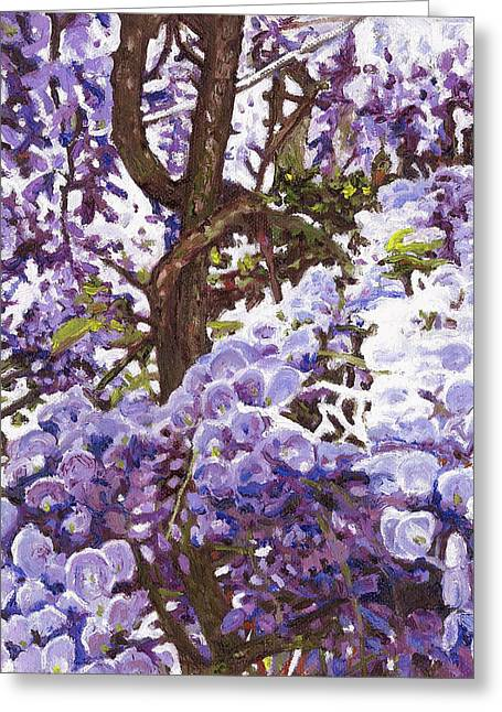 Feminine Art Greeting Cards - Blue Wisteria Greeting Card by Helen White
