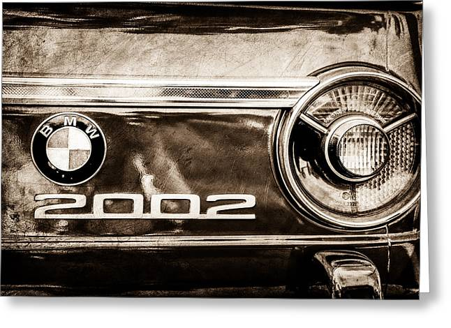 Bmw 2002 Greeting Cards - BMW 2002 Taillight Emblem -0133s Greeting Card by Jill Reger