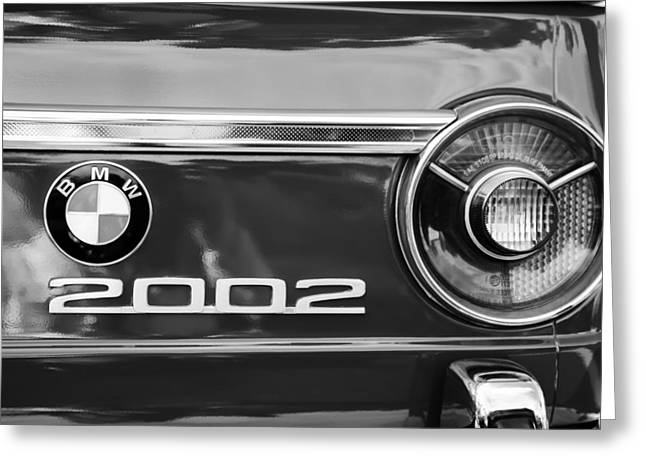 Taillights Greeting Cards - BMW 2002 Taillight Emblem Greeting Card by Jill Reger