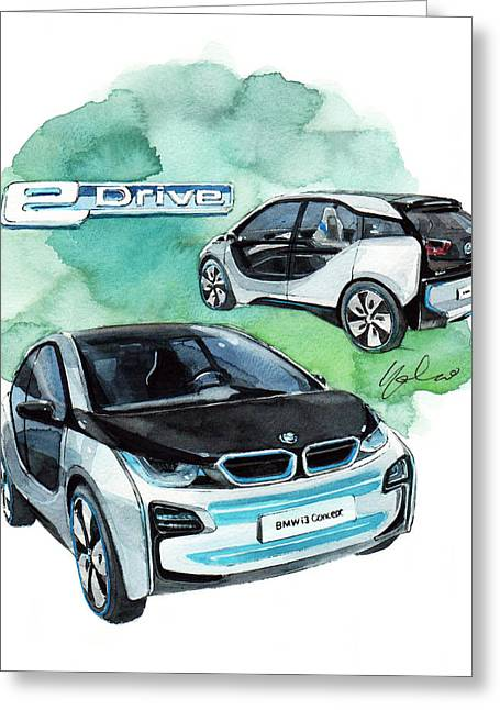 Concept Paintings Greeting Cards - BMW i3 Concept car Greeting Card by Yoshiharu Miyakawa