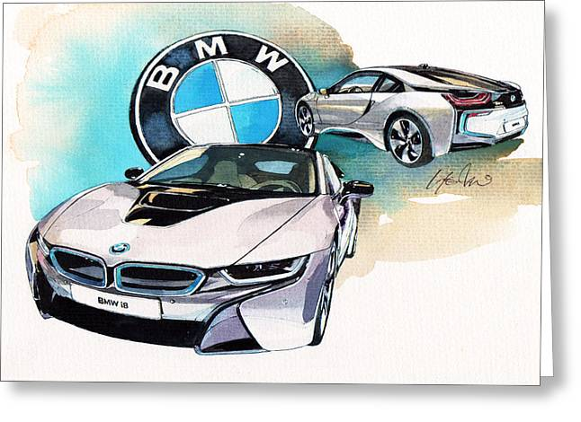 Plugged In Greeting Cards - BMW i8 Greeting Card by Yoshiharu Miyakawa
