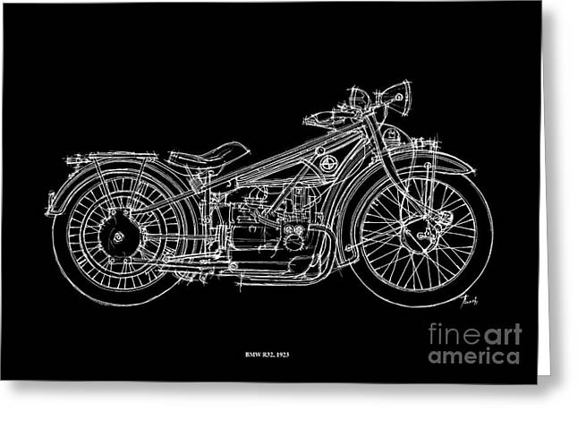 White On Black Greeting Cards - Bmw R32 1923 Greeting Card by Pablo Franchi