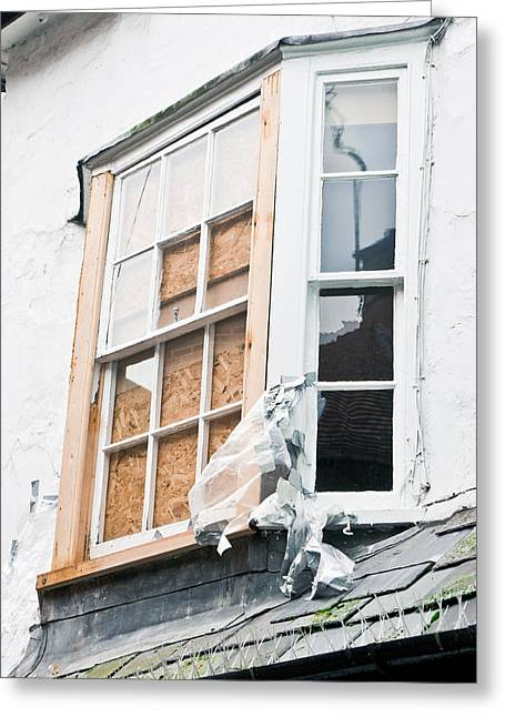 Abandoned Houses Greeting Cards - Boarded up window Greeting Card by Tom Gowanlock