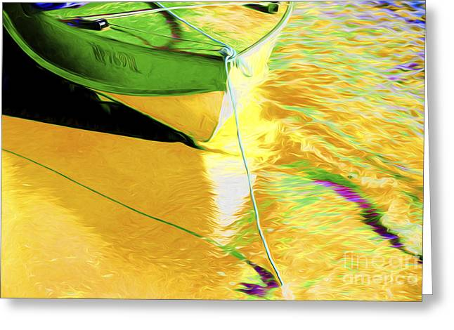 Boats In Water Greeting Cards - Boat abstract Greeting Card by Sheila Smart